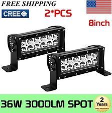 "2x 8""inch 36W Spot CREE LED Work Light Bar Driving Offroad Lamp  4WD Truck 72W"