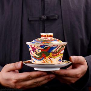 creative boutique gaiwan porcelain tureen with cup saucer dragon phoenix print