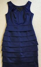 Review Dress 10 Dark blue satin Beaded detail Event wedding formal as new
