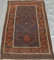 Antique 1880's Hand Knotted Wool Nomadic Tribal Oriental Rug 3.5 x 5.10