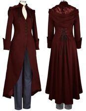d16b9a45b4d Burgundy V Neck Removable Hood Long Coat Gothic Steampunk 24 Plus 24W 3X