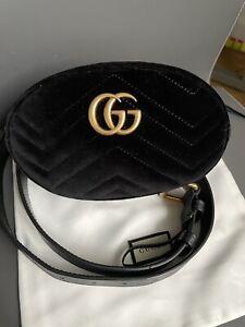 Authentic Gucci Black Quilted Velvet GG Marmont Waist Belt Bag