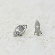 Space Plannets Stars Rocket Earings Silver Colour Alloy Christmas Gift Cute