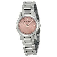 NEW Burberry Diamond Pink Dial Stainless Steel Ladies Watch BU9223,