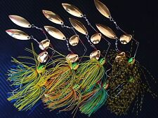 8X 1/2oz Double Blade Spinnerbaits Spinner Bait Soft Plastic Lure BASS COD GULP