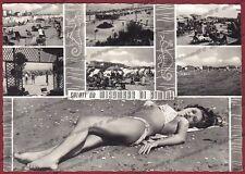 RIMINI CITTÀ 129 MIRAMARE SALUTI da... DONNA in COSTUME DA BAGNO Cartolina 1963