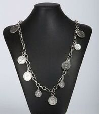 SILVER TONE COIN CHAIN LINK 43 in NECKLACE FASHION JEWELRY