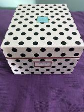Kate Spade Black Polka Dot Exterior Green Interior Medium Nesting Storage Box