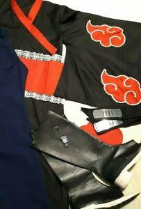 Konan Naruto Ninja Cosplay LOT Akatsuki Kimono Boots Ame Hidden Rain Headband XS