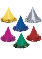 Bright Birthday Foil Cone Party Hats Pack 6