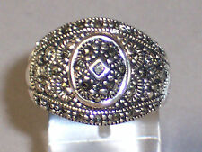 VINTAGE WIDE CIGAR BAND STERLING SILVER MARCASITE RING - TOP OPENS - SIZE 9.25