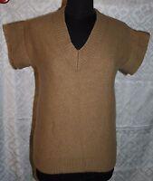 J Crew Sz S Sweater Vest Chunky Beige Brown Alpaca Wool Blend Womens Top