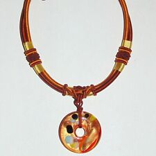 Ornate Chinese style braided cord necklace with art glass pendant, jade bead