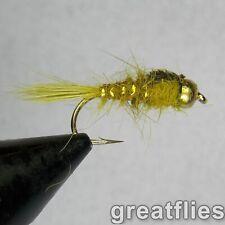 1 dozen (12) - Gold Ribbed Hare's Ear - Olive - Bead Head
