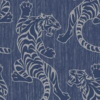 Midnight Blue Tiger Wallpaper Paste the Wall Textured Vinyl by Vymura M1103