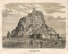 MONT SAINT-MICHEL GRAVURE ILLUSTRATION 1864