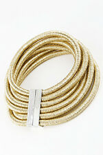 "14"" gold 6 layer multi strand row coil choker collar necklace bib balmain style"