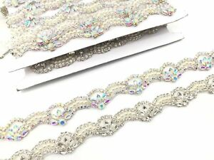 Silver/Ab Bridal Belt Wedding Dress Sash Diamante Trim Applique Beaded Trim