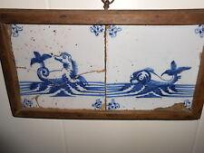 Rare 18th Century Dutch Delft 2 Sea Serpent Tiles Original Framing