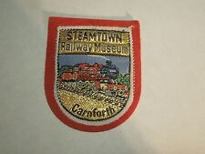 Vintage Steamtown Railway Museum Train Pic Carnforth UK Fabric & Felt Patch- Red