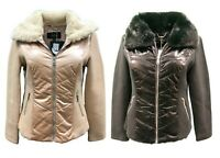 Coalition LA Faux Fur Combo Zip Vegan Patent Rib Jacket Sz S M L XL 0095-96RM