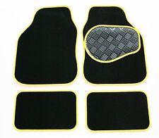 Fiat Seicento (98-04) schwarz 650g Teppich & Gelb Trim Auto Fußmatten-Gummi Absatz Pad