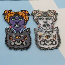 alien Space Cat Halloween Iron On Patch 3 Inch Purple storm area 51