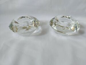 Vintage Pair Heavy Crystal Glass Candle Holders Tealights Geometric