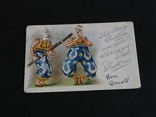 ORIGINAL ROICK SIGNED TUCK CLOWN POSTCARD - CHRISTMAS SERIES 8002 - MUSICAL.
