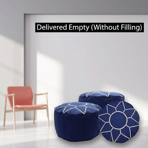 Round Hand Knitted Ottoman Pouf Cotton Braid Footstools Moroccan Leather Pouf