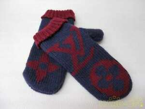 LOUIS VUITTON Gloves 100%Wool Purple x Red Authentic