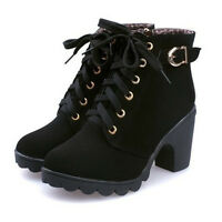 Womens Ladies Leather Lace Up Chelsea Chunky Block Heel Ankle Boots Winter Shoes