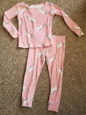 Carter'S Pink Unicorn Print Long Sleeved Cotton Pajamas Girls Size 3T