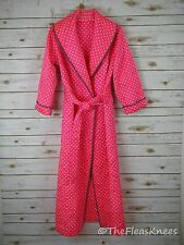 Polka Dot Satin Quilted Robe Housecoat Size Small Womens