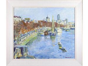 Faith Sheppard 'HMS Discovery & St Paul's, London' - old oil painting