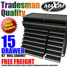 """MAXIM 42"""" Roll Cabinet 15 Drawers Tool Chest Art Storage Workstation Toolbox"""