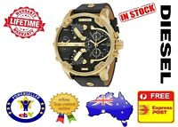DIESEL DZ7371 MR DADDY 2.0 Black Leather GOLD Multiple Time Zone Mens Watch