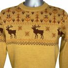 Forum Ugly Retro Christmas Pullover Crew Neck Sweater Brown Reindeer Vintage S