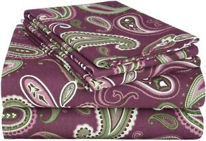 SUPERIOR Deep Pocket Cotton Flannel Solid or Patterned Sheet Set, Twin, Flat She