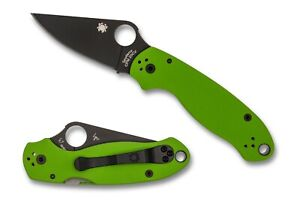 "Spyderco Para 3 Knife Joy Exclusive Neon Green G10 CPM-20CV 2.92"" C223GPNGRBK"