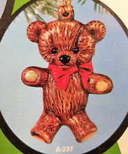 Ceramic Bisque Christmas Ornament Teddy Bear Alberta Mold 237 Ready To Paint