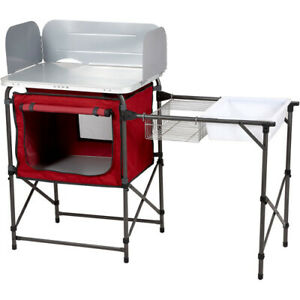 Deluxe Camp Kitchen for Fishing/Camping Stove Kitchen with Storage & Sink Table