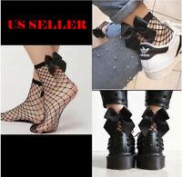 US! Women's Ladies Mesh Lace Fishnet Bow Socks Short High Stockings Ankle Gift