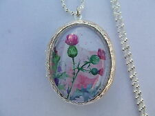 "WATERCOLOR SCOTLAND SCOTTISH THISTLE LOCKET 26"" CHAIN"
