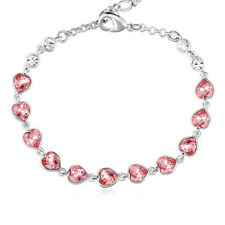 New Silver 11 Heart-shaped made with Swarovski Pink Crystals Bracelet Jewellery