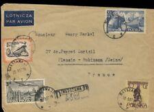 POLOGNE / POLAND 1957 Mi.731, 830, 908 & 961 REG'd AIR MAIL cover WARSAW FRANCE