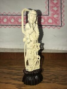 Antique Chinese Carved Bovine Bone Figurine Deeply Carved