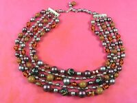 Vintage Four Strand Beaded Necklace Purple Orange Brown Glass Plastic Fall Color
