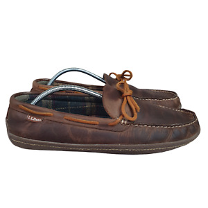L.L. Bean Slippers Mens 12 M Hand Sewn Leather Flannel Lined Moccasin 212164