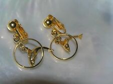 Estate Goldtone Open Circle w Diving Dolphin Dangle Clip Earrings – 1.25 x 1 in